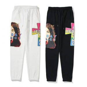 Kanye West Head Cross Print Men's Pants Cotton sweatpants
