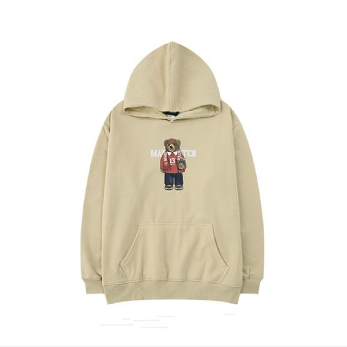 Cartoon Bear Print Harajuku Khaki Kanye West Hoodies