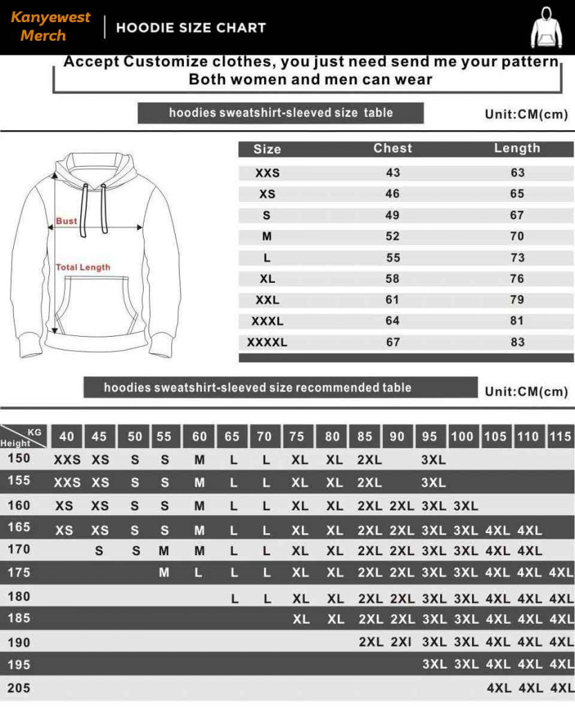 kanyewest-merch-hoodie-size-chart